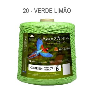 Barbante Amazônia 6 fios Cor 20 Verde Limão 2 kg