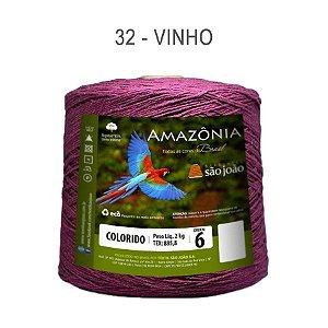 Barbante Amazônia 6 fios Cor 32 Vinho 2 kg - São João