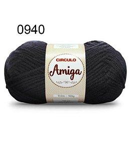 Lã Amiga Cor 0940 Preto 100 Gramas