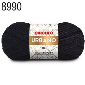 Lã Urbano Cor 8990 Preto 100 Gramas 110 Metros