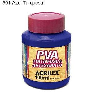 Tinta PVA Fosca para Artesanato Cor 501 Azul Turquesa 100ml Acrilex