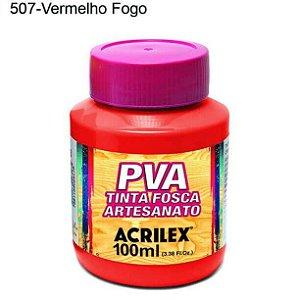 Tinta PVA Fosca para Artesanato Cor 507 Vermelho Fogo 100ml Acrilex