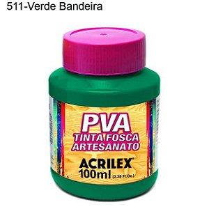 Tinta PVA Fosca para Artesanato Cor 511 Verde Bandeira 100ml Acrilex