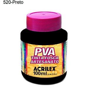 Tinta PVA Fosca para Artesanato Cor 520 Preto 100ml Acrilex