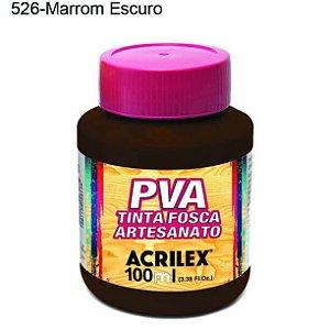 Tinta PVA Fosca para Artesanato Cor 526 Marrom Escuro 100ml Acrilex