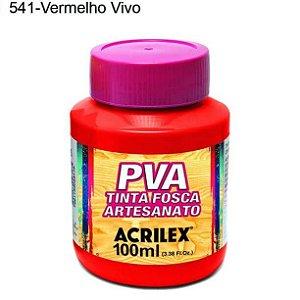 Tinta PVA Fosca para Artesanato Cor 541 Vermelho Vivo 100ml Acrilex