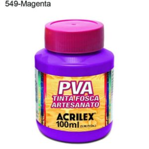 Tinta PVA Fosca para Artesanato Cor 549 Magenta 100ml Acrilex