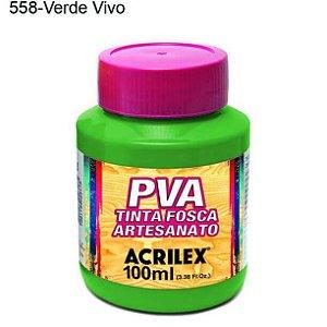 Tinta PVA Fosca para Artesanato Cor 558 Verde Vivo 100ml Acrilex