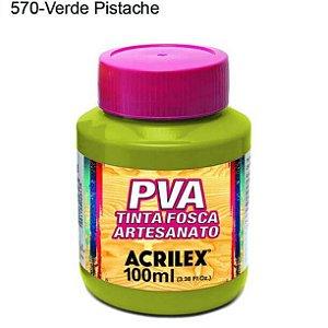 Tinta PVA Fosca para Artesanato Cor 570 Verde Pistache 100ml Acrilex