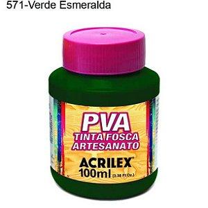 Tinta PVA Fosca para Artesanato Cor 571 Verde Esmeralda 100ml Acrilex