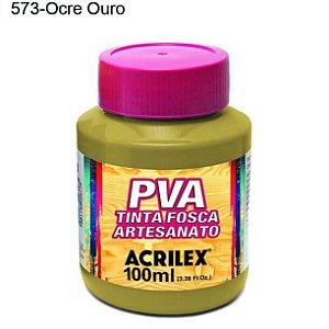 Tinta PVA Fosca para Artesanato Cor 573 Ocre Ouro 100ml Acrilex