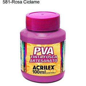Tinta PVA Fosca para Artesanato Cor 581 Rosa Ciclame 100ml Acrilex