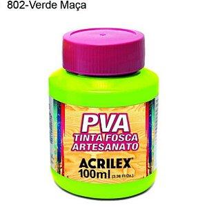 Tinta PVA Fosca para Artesanato Cor 802 Verde Maça 100ml Acrilex