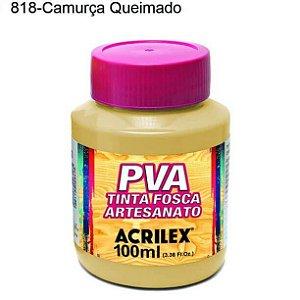Tinta PVA Fosca para Artesanato Cor 818 Camurça Queimada 100ml Acrilex