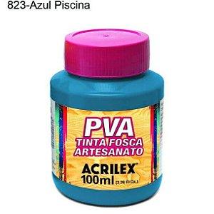 Tinta PVA Fosca para Artesanato Cor 823 Azul Piscina 100ml Acrilex
