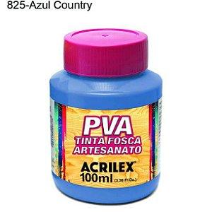 Tinta PVA Fosca para Artesanato Cor 825 Azul Country 100ml Acrilex