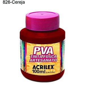 Tinta PVA Fosca para Artesanato Cor 826 Cereja 100ml Acrilex