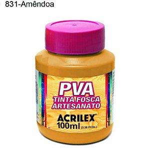 Tinta PVA Fosca para Artesanato Cor 831 Amêndoa 100ml Acrilex