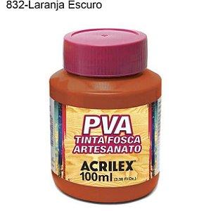 Tinta PVA Fosca para Artesanato Cor 832 Laranja Escuro 100ml Acrilex