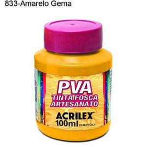 Tinta PVA Fosca para Artesanato Cor 833 Amarelo Gema 100ml Acrilex