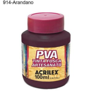 Tinta PVA Fosca para Artesanato Cor 914 Arandano 100ml Acrilex