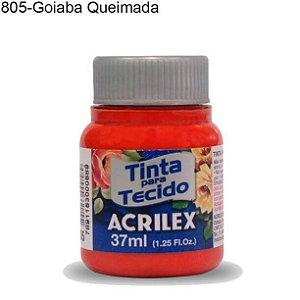 Tinta para Tecido 37ml Cor 805 Goiaba Queimada  Acrilex