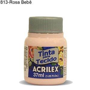 Tinta para Tecido 37ml Cor 813 Rosa Bebê  Acrilex