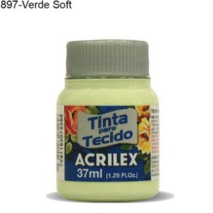 Tinta para Tecido 37ml Cor 897 Verde Soft  Acrilex