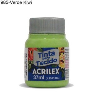 Tinta para Tecido 37ml Cor 985 Verde Kiwi  Acrilex