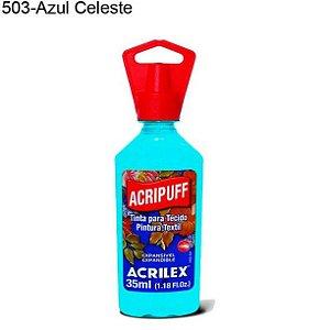 Tinta para Tecido Acripuff 35ml Cor 503 Azul Celeste Acrilex