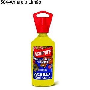 Tinta para Tecido Acripuff 35ml Cor 504 Amarelo Limão Acrilex