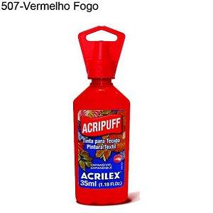 Tinta para Tecido Acripuff 35ml Cor 507 Vermelho Fogo Acrilex