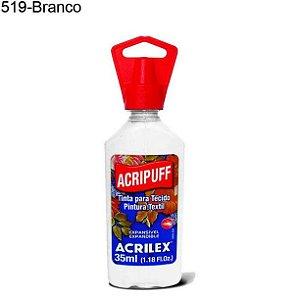 Tinta para Tecido Acripuff 35ml Cor 519 Branco Acrilex