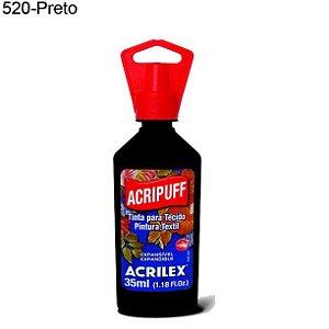 Tinta para Tecido Acripuff 35ml Cor 520 Preto Acrilex
