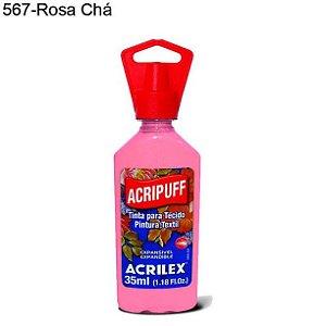Tinta para Tecido Acripuff 35ml Cor 567 Rosa Chá Acrilex