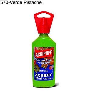 Tinta para Tecido Acripuff 35ml Cor 570 Verde Pistache Acrilex