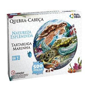 Quebra Cabeça Redondo Tartaruga Marinha 500 Peças 0937 Pais & Filhos