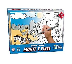 Quebra Cabeça Monte e Pinte Safari 24 Peças 0996 Pais & Filhos