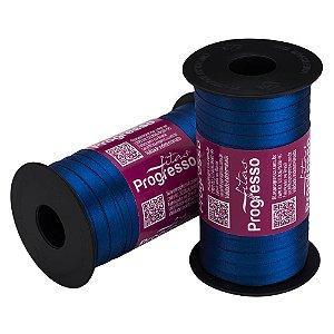 Fita Cetim Progresso N° 1 (07mm) Cor 276 Azul Pavão Face Simples 100 metros