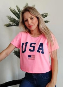 CROPPED PINK NEON USA