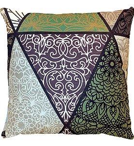 Capa Almofada Veludo Triângulo Verde Grande