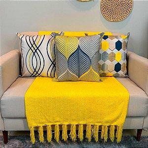 Ki 4 Capas Almofadas Veludo Amarelo Azul  Marinho