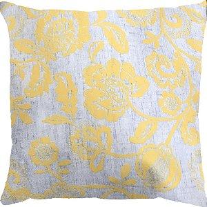 Capa Almofada Veludo Floral Amarelo e Cinza