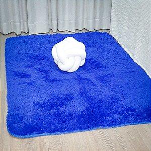 Tapete Pelo Alto 0,90 X 1,40 m Azul