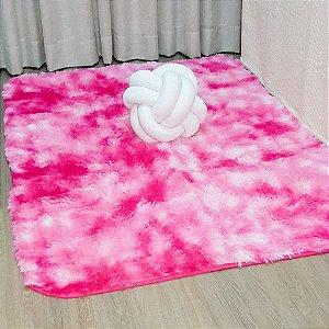 Tapete Pelo Alto 0,90 X 1,40 m Pink Mesclado