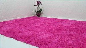 Tapete Pelo Alto 2,00 X 1,40 m Pink Liso