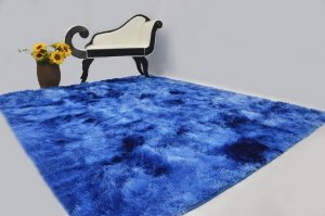 Tapete Pelo Alto 2,00 X 2,40 m azul mesclado