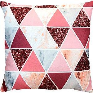 Capa Almofada Triâgulos Glitter Rose Gold Intenso