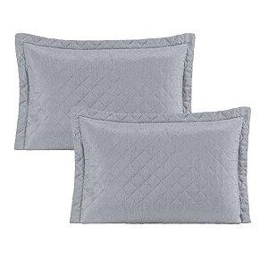 Kit 2 Porta travesseiro Pastilha - Cinza Azulado
