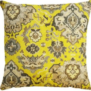 Capa Almofada Veludo Amarelo Florões Velfit